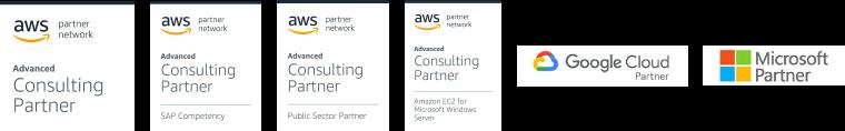 banner AWS certifications, Google cloud partner and Microsoft partner