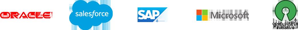 Logos Oracle SalesForce SAP Microsoft Open Source Initiative